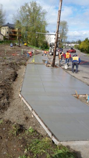 6 Sidewalk being poured
